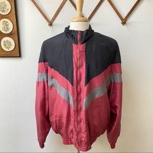 Vintage 100% Silk Color Block Bomber